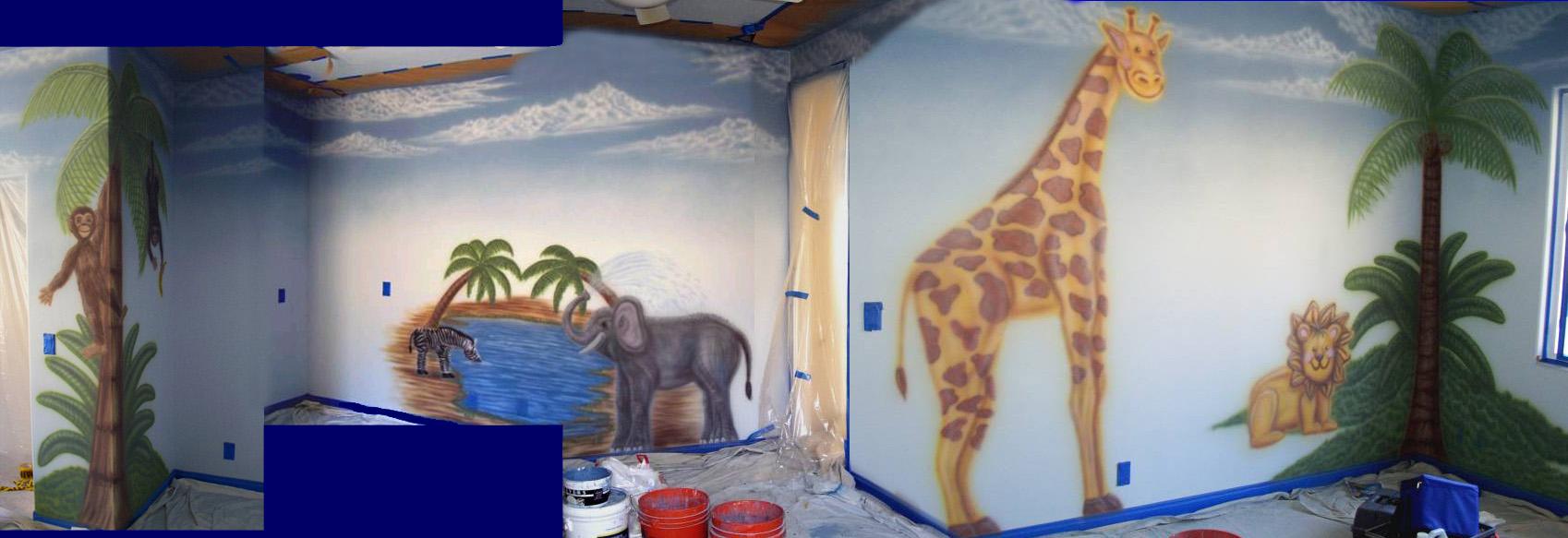 African safari kids mural for African mural painting